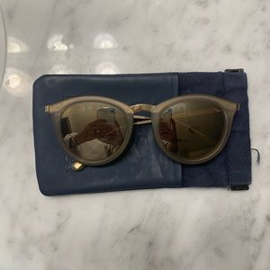 Le Specs Gold Round Sunglasses
